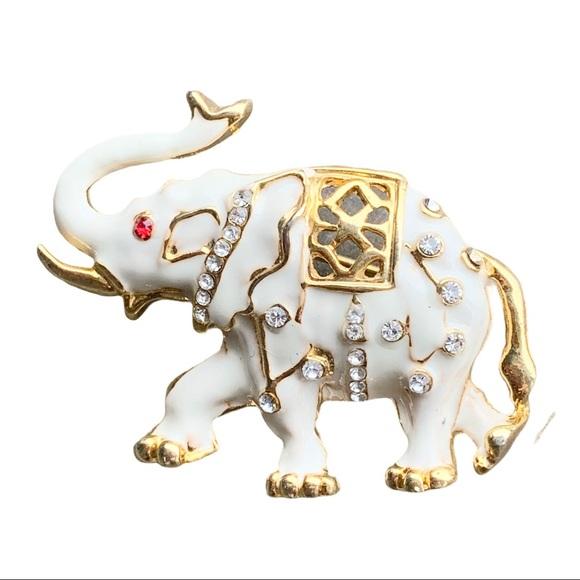 Vintage White Gold Enamel Elephant Brooch Pin